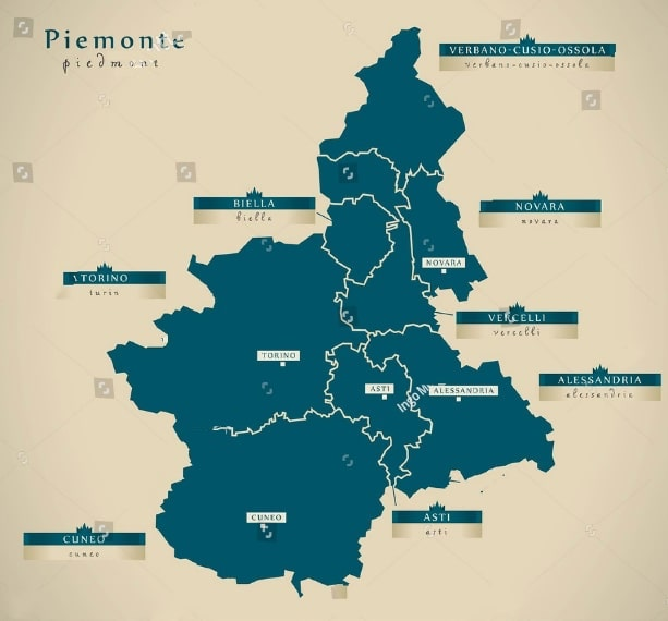 Map of Piemonte Piedmont with cities