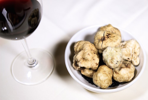 truffles and red wine tasting