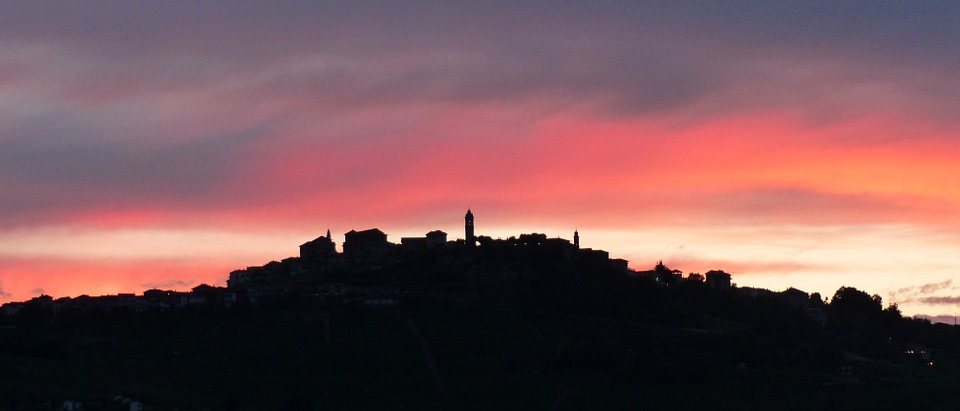 sunset in barolo langhe italy