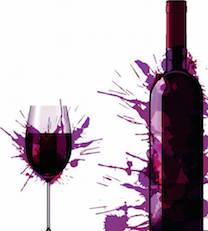 Wine Bottle and glass Violet Splash
