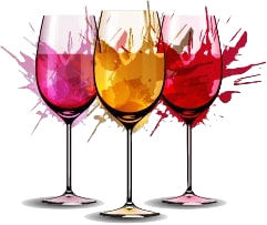 Wine Glass vector with splash color