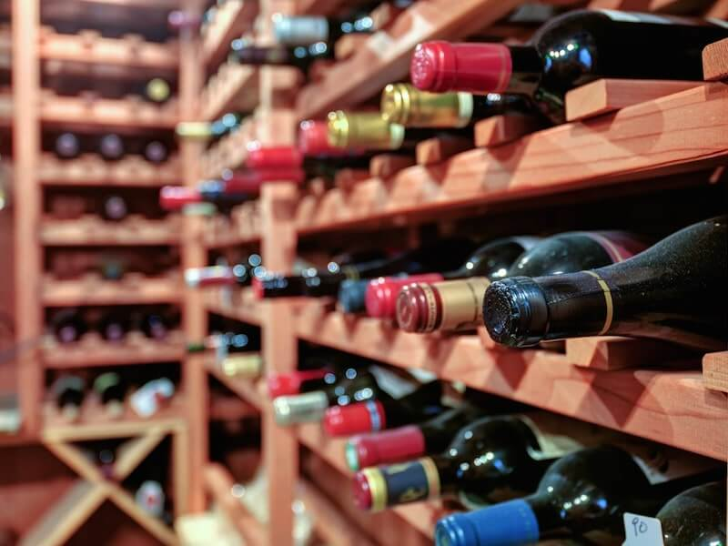 Wine bottle in winery