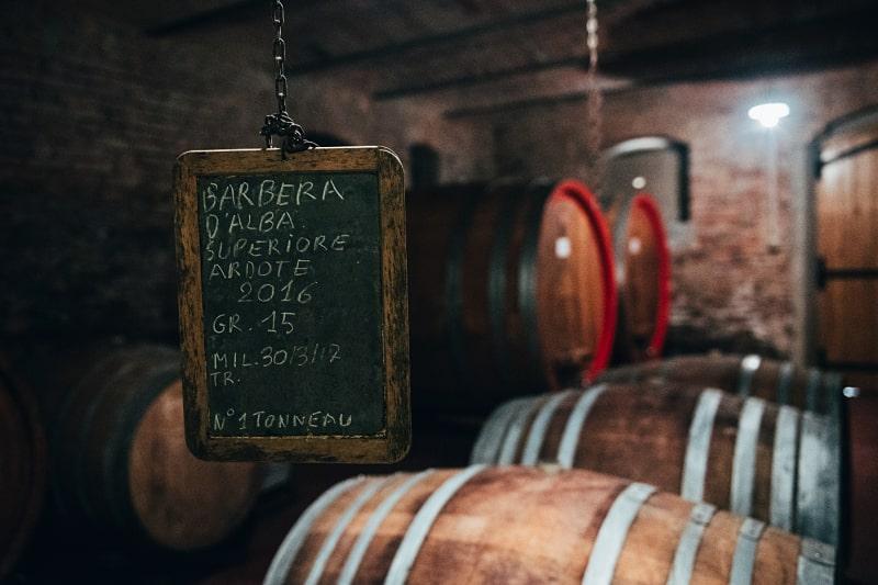 Barbera superiore Piemontese red wine