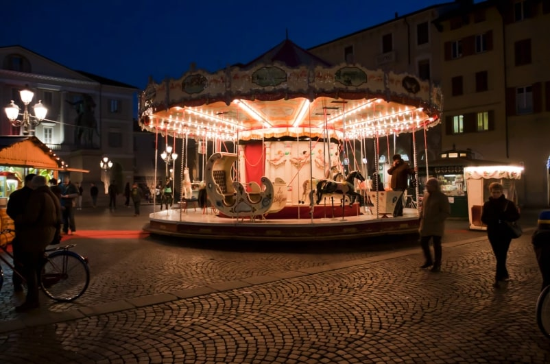 Antique Carrousel at Nigh. Casale Monferrato, Piemonte. Italy